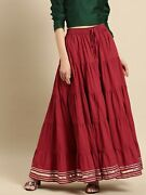 Women Maroon Solid Tiered Skirt Flared Hem And Taping Border Maxi Long Skirt