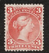Sc 25 - Canada - 1868 - Large Queen 3 Cent - Vf Mng - Superfleas Cv3000