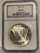 1923 Certified Peace Silver Dollar - Ngc Ms 65