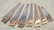 Antique Vintage Hand Saw Lot Of 7 Saws Woodwork Tools Atkins Disston Sheffield