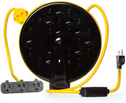30 Foot Retractable Extension Cord Reel With Breaker Switch And 3 Electrical Pow