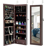 Hangable Jewelry Cabinet Cosmetic Storage Boxes Armoire With Mirror And Led Lights