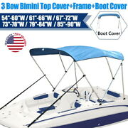 3 Bow Boat Bimini Top Replacement Canvas Cover 600d Zipper Waterproof With Frame