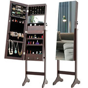 Lockable Jewelry Cabinet Cosmetic Storage Boxes Armoire With Mirror And Led Lights