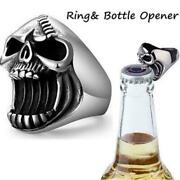 New Skull Shape Ring Menand039s Large Metal Ring Party Bottle Opener Gifts E0h4