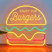 Neon Hamburger Sign For Business With Adapter, Open Neon Signs Burger With
