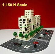1150 N Scale Scenery Layout City 5 Pcs Abandoned Ruin Mall Buildings And 2 Roads