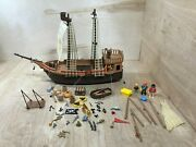 Rare Vintage Playmobil 3750 / 3053 Pirate Ship Boat Incomplete Lot Accessories
