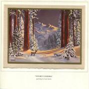 Vintage Christmas Deer Buck Snow Mountains Trees Woods Nature Gare Barks Card