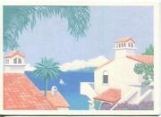 Vintage Southwest Houses Nautical Ocean Sail Boat Topiary Heavy Embossing Card