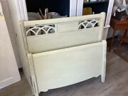 Antique Single Twin Headboard And Footboard Painted Light Sage Green Solid Wood