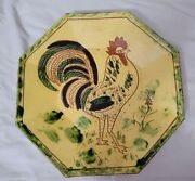Big Breininger Redware Pottery Octagon Plate Tray Yellow Dish Rooster Bird 1980