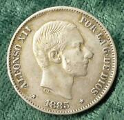 1885 Philippines Spain 50 Centavos Colonial Coins, Half Peso Overdate And Cuds