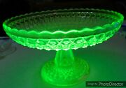 Antique 1885 Central Pressed Diamonds 775 Eapg Canary Vaseline 10 Footed Bowl