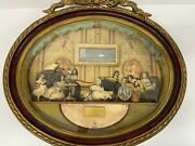Antique Diorama French Family Interior 19th Century Wall Hung Framed