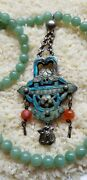 Antique Chinese Sterling Enamel Cloisonne And Jade Necklace