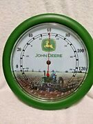 Round John Deere Wall Thermometer Green