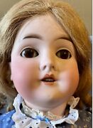 """Antique 25"""" Am Queen Louise German Bisque Doll With Nice Outfit And Nice Wig"""