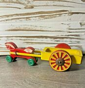 Vintage Brio Wooden Horse On Wheels With Cart- Red Yellow Green Pull Toy-sweden