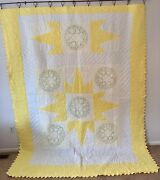 Vintage Farmhouse Handmade Quilt Hand Embroidered Hearts