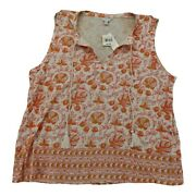 Lucky Brand Woodblock Printed Tank Natural Multi Size Xl
