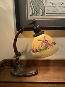 Arts And Crafts Handel Desk Table Lamp Windmill Shade Signed