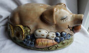 Pig Ceramic Covering For A Serving Plate Rare Louisville Stoneware Collectable