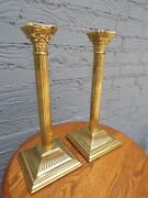 Pair Of Vintage Antique English Brass Ribbed Column Candlesticks Stamped England