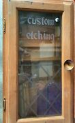 Vintage Display Cabinet Says Custom Etching On Glass. Comes With Shelves