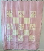 Vintage Farmhouse Handmade Quilt Lavender With Hand Quilting And Appliquandeacute