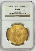 1981 Mo Gold Mexico 1 Oz Onza First Year Winged Victory Coin Ngc Mint State 64