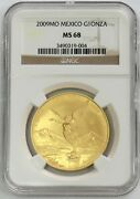 2009 Mo Gold Mexico 6200 Minted 1 Onza Winged Victory Coin Ngc Mint State 68