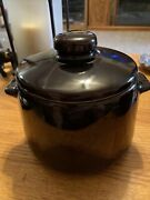 Vintage West Bend Usa Glazed Ceramic Crock Bean Pot With Handles And Lid Perfect