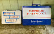 2 Vintage Johnson And Johnson First Aid Emergency Kits Original Box And Contents