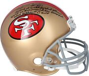 Jerry Rice 49ers Signed Throwback Authentic Helmet And Motivational Quote Insc