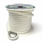 Gen3 Marine 3 Strand Twisted White Boat Anchor Line 3/8 X 100and039