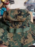 Lot Of 2 Usmc Issue Woodland Marpat Camo Field Cover Boonie Hat With Ega X-large
