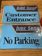 """2 Vintage Metal Signs Lube Shop New Old Stock Embossed 14""""x24"""" No Parking"""