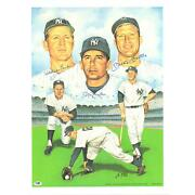 Mickey Mantle Whitey Ford And Billy Martin Yankees Signed 20x24 Photo - Psa