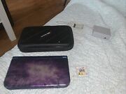 New 3ds Xl Purple Galaxy System W/case And Kirby Deluxe + Marvel Heroes And Avengers