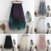 Women Lady Tulle Mesh Long Skirt Elastic High Waist Layers Maxi Dress Prom Party
