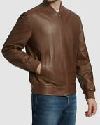 4495 Brunello Cucinelli Menand039s Brown Soft Leather Rib-knit Bomber Jacket Size S