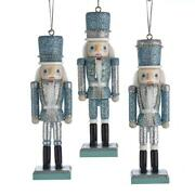 Silver And Blue Wooden Nutcracker Soldier 6 Christmas Ornaments Set Of 3