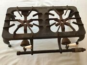 Rare Antique Vintage Griswold Cast Iron No 202 Two 2 Burner Gas Camping Stove