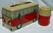 Vw Volkswagen Bus 1960's Tin Lunchbox With Original Thermos, Super Rare Promo