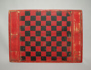 Old Antique Vtg Ca 1900and039s Folk Art Wooden Game Board Graphic Red Black Paint