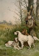 Charles Olivier De Penne 19th C French Sporting Watercolor Painting Hunting Dogs