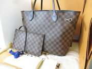 Louis Vuitton Damier Neverfull Mm N41358 Tote Shoulder Bag With Pouch Used Ex++