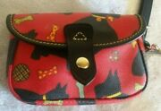 Dooney And Bourke Red Scottie Dog Flap Purse Wristlet With Removable Strap