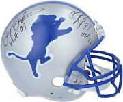 Barry Sanders And Calvin Johnson Lions Signed Vsr4 Authentic Helmet And Hof Inscs